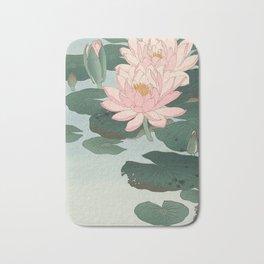 Flowering Water Lily, Ohara Koson Bath Mat