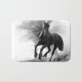 Horse in Storm - GRAPHITE DRAWING Bath Mat
