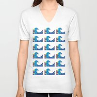 hokusai V-neck T-shirts featuring Hokusai Rainbow_Bs by FACTORIE
