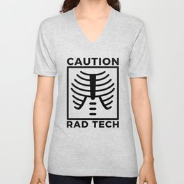Caution Rad Tech Radiology Bone Rib Cage Unisex V-Neck