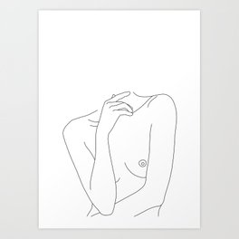 Woman's body line drawing - Cecily Art Print