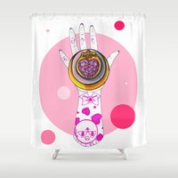 chibi Shower Curtains featuring Chibi Moon by scoobtoobins