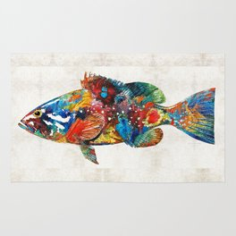 Colorful Grouper Art Fish by Sharon Cummings Rug