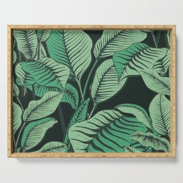 Exotic Tropical Banana Palm Leaf Print Serving Tray