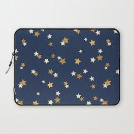 Navy blue faux gold glitter elegant starry pattern Laptop Sleeve