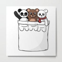 Cute Pocket Bears Metal Print