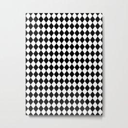 Black and White Modern Diamond Pattern Metal Print