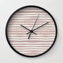Simply Shibori Stripes Lunar Gray on Clay Pink Wall Clock