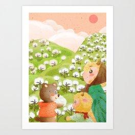 Girl And Cute Bear Art Print