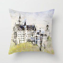 Neuschwanstein Castle, Bavaria Germany Throw Pillow