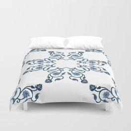 Blue Floral Heart Tile Duvet Cover