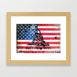 Viper N Bullet Holes On Old Glory - Gadsden and American Flag Framed Art Print