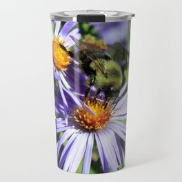 Pollen Dusted Bee on Asters Travel Mug