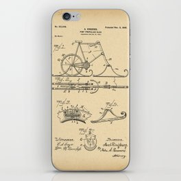 1898 Patent Bicycle Velocipede Foot propelled sled iPhone Skin