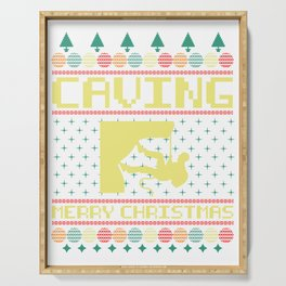 Christmas Ugly Sweater Cave Explorer And Nature Lover Gift Serving Tray