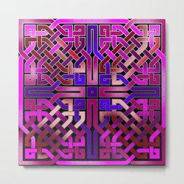 Pink Celtic Knot Square Metal Print