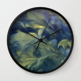 Jack Frost In Inkwell Blue and Yellow Abstract Art Wall Clock