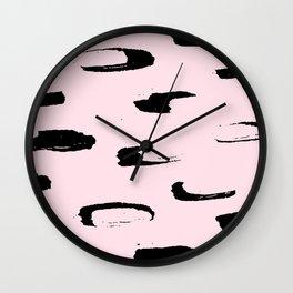 black & very pale pink /geometric series Wall Clock