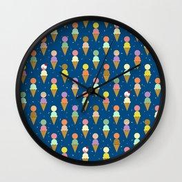 Ice Cream Cone Scoops Blue Robayre Wall Clock