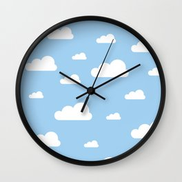 White clouds on baby blue Wall Clock