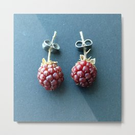 "Pendientes veganos ""moras"" / Blueberries Pendants Metal Print"