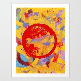 Red Sacred Mystic Circle Abstract Art  Art Print