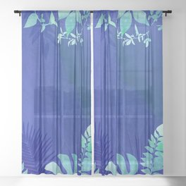 marine flowers Sheer Curtain