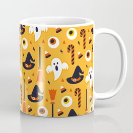 Happy halloween ghosts, brooms, eyeballs and witch hats pattern Coffee Mug