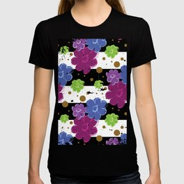 Pop Flowers with Ink Paint Splatter on Cabana Stripe Print T-shirt