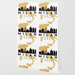MILAN ITALY SILHOUETTE SKYLINE MAP ART Wallpaper