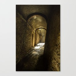 Stone alley of the middle evo era. Canvas Print