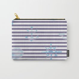 Whale Anchor Helm Watercolor Linen Stripes Carry-All Pouch