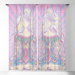 Meditating Yogi (Pink & Purple) Sheer Curtain