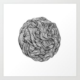 Abstract black and white organic line drawing doodle ball Art Print