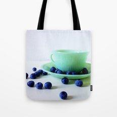 Retro Breakfast - Jadite and Blueberries Tote Bag