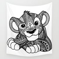 simba Wall Tapestries featuring Zentangle Simba by ElFineLines
