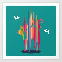 Surprised Cat -greenA Art Print