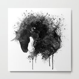 Black and White Horse Head Watercolor Silhouette Metal Print