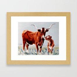 Longhorns painting Framed Art Print
