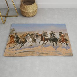 A Dash for the Timber - Frederic Remington Rug