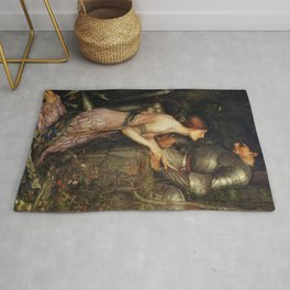 Lamia and the Soldier - Princess and Knight by John William Waterhouse Rug