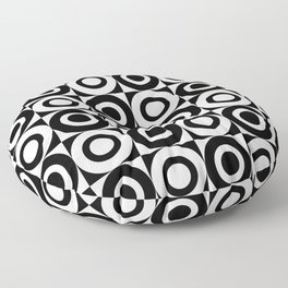 Mid Century Square and Circle Pattern 541 Black and White Floor Pillow
