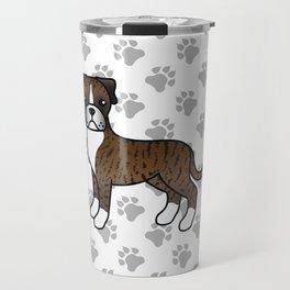 Cute Brindle Boxer Dog Cartoon Illustration Travel Mug