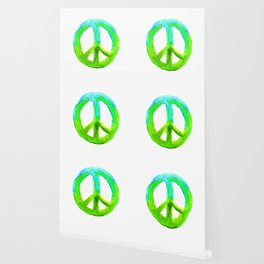 Watercolor Tie Dye Peace Sign Turquoise Lime on White Wallpaper