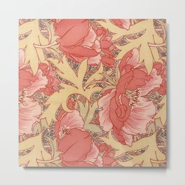 William Morris Poppies Floral Art Nouveau Pattern Metal Print