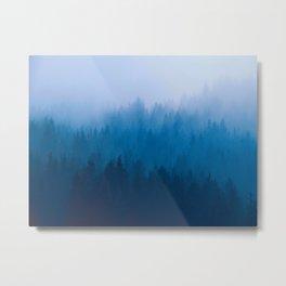 Blue Mountain Pine Trees Blue Ombre Gradient Colorful Landscape photo Metal Print