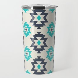 Abstract Contemporary Geometric Turquoise Ethnic Pattern 05 Travel Mug
