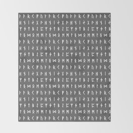 Nordic Runes // Grey Throw Blanket
