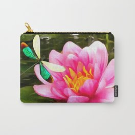 Water Lily and Dragonfly Carry-All Pouch
