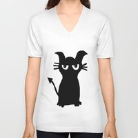 kitty V-neck T-shirts featuring kitty by Sproot